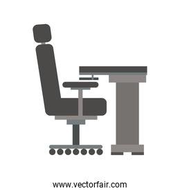 gray scale silhouette with desk and chair office