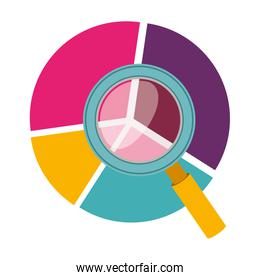 colorful silhouette with pie chart and magnifying glass