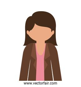 silhouette half body woman with jacket without face