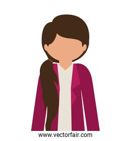 silhouette half body girl with jacket without face