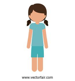 silhouette teen with t-shirt and shorts without face