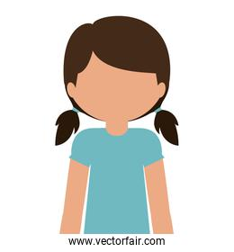 silhouette half body teen with t-shirt and shorts without face