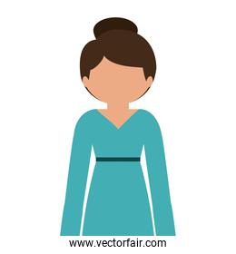 silhouette half body woman in dress without face
