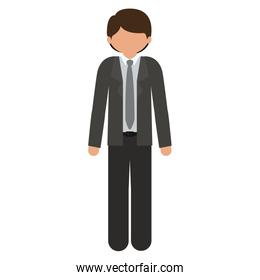 silhouette man with formal suit without face