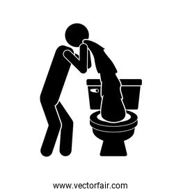 monochrome silhouette with person vomiting in the toilet