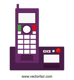 silhouette office telephone with wired