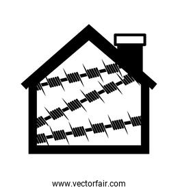 silhouette house one floor with metallic barbed wire icon