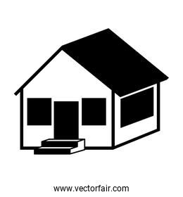 silhouette with monochrome house side one floor