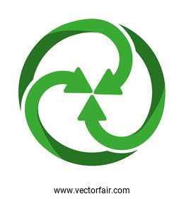 green spiral crossed recycling symbol shape with arrows