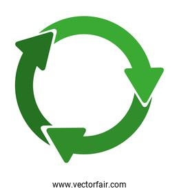green circular recycling symbol shape with arrows