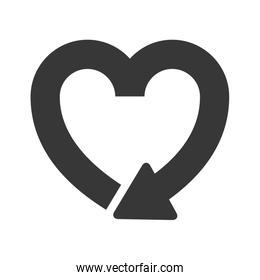 silhouette heart shape symbol of reload icon