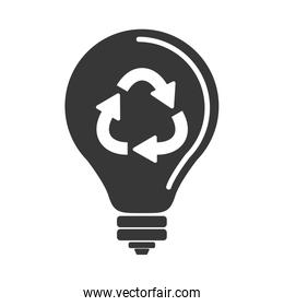 silhouette light bulb with recycling symbol shape