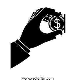 hand with a money coin