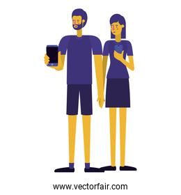 young couple using smartphone
