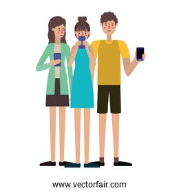 young people with smartphone