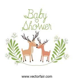 cute deers couple with wreath baby shower card