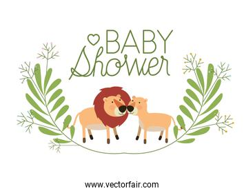 cute lions couple with wreath baby shower card