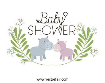 cute hippos couple with wreath baby shower card