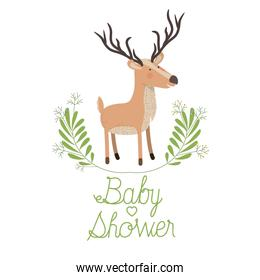 cute reindeer with wreath baby shower card