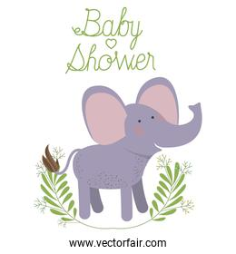 cute elephant with wreath baby shower card