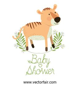 cute tiger with wreath baby shower card