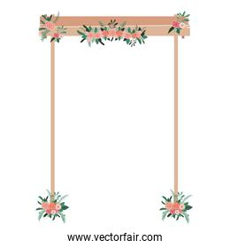 wooden arch with flowers
