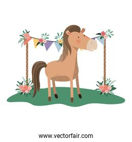 cute and adorable horse with floral frame