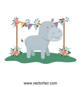 cute and adorable hippo with floral frame