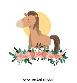 cute and adorable horse with floral decoration