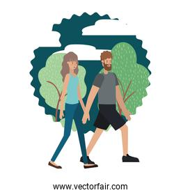 young couple in the landscape avatar character
