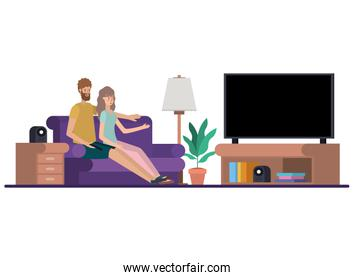 young couple in the livingroom avatar character