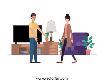young couple in the living room avatar character