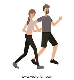 youth couple representation vector over white