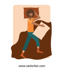 young man afro in bed avatar character
