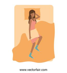 young woman afro in bed avatar character