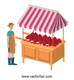vegetable seller man with kiosk isolated icon