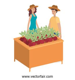 couple in wooden shelf with vegetables avatar character