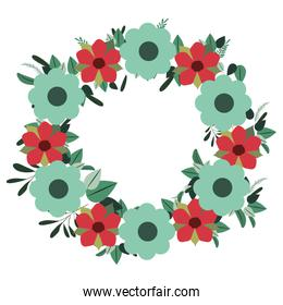 frame of pretty flowers isolated icon