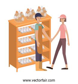 couple in shelf wooden with eggs avatar character
