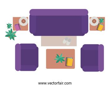 Aerial view of living room isolated icon