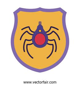 shield with spider isolated icons