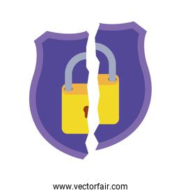 shield with broken padlock isolated icons