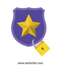 shield with star isolated icons