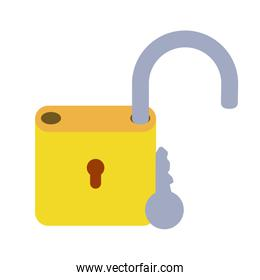lock open with key isolated icons