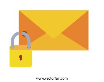 closed letter with padlock isolated icons