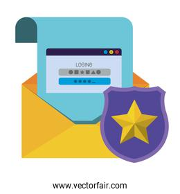open letter with shield and window isolated icons