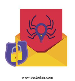 open letter with spider and padlock isolated icons
