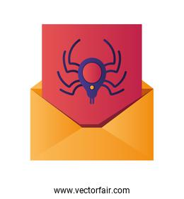 open letter with spider isolated icons