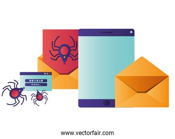 screen with letter and spider isolated icons