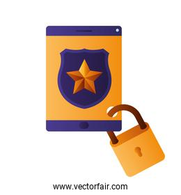 tablet with shield and padlock isolated icons